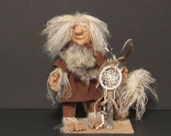 "OOAK Art Doll, ""Drake the Dream Master "" Troll , Handmade Art Doll, by Susan Massey"