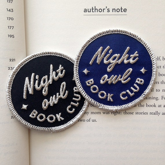 Night Owl Book Club embroidered patch