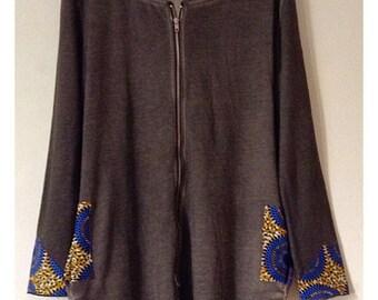 Smokey gray African print hoodie dress