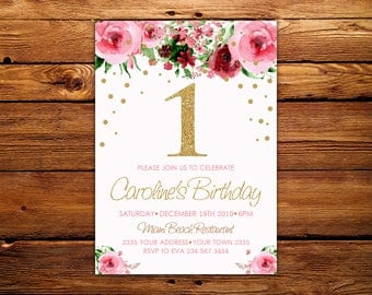 First Birthday Party Invitation. Girl First Birthday Invitation. First Birthday Invitation. Watercolor Roses. Pink and Gold Girl. Any age.