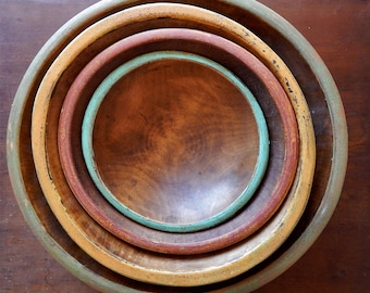 PAINTED WOODEN BOWLS/ 15 inch bowl /  FarmhouseStyle Wood Bowls/ Distressed Wooden Bowls/ Vintage Style Wooden Bowsl/ Primitive Wooden Bowls