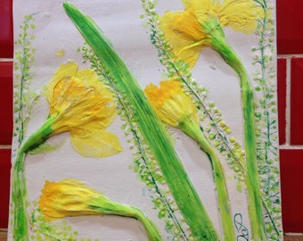 Plaster Cast of daffodils .