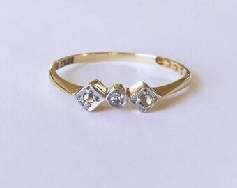 Vintage 18ct Gold & Platinum Diamond Ring