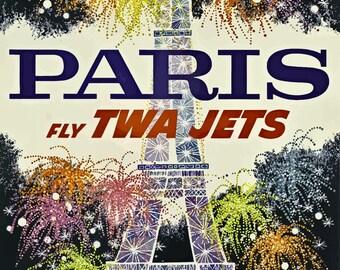 Vintage Travel Poster A4 of Paris