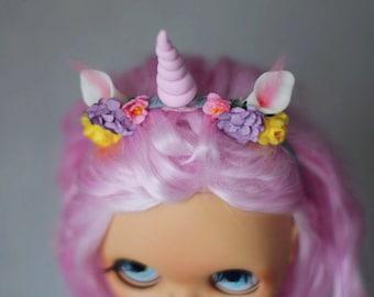 "flowered ""Unicorn"" headband for Blythe doll"