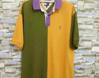 MEGA SALE 90's Tommy Hilfiger Polo Shirt Vintage Color Block Size M