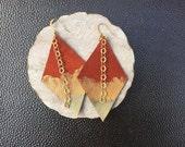Ombre Handpainted Leather Earrings - Hippie Boho Gift Idea