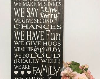 Family / House Rules Handmade Wooden Sign
