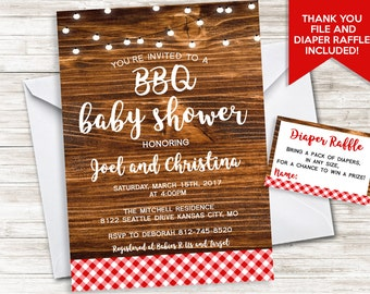 BBQ Baby Shower Invite Invitation Sprinkle String Lights Picnic Couples Barbecue Co Ed Diaper Raffle 5x7 Digital Personalized