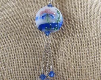 Unique lampwork hand painted pendent