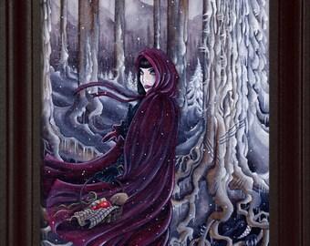 Red Riding Hood art (8 x 10) Artwork, watercolor print, watercolor print nature, fairytale art print, fantasy art, disney princess,