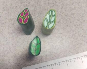 3 raw clay leafs canes, unique