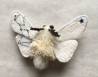 Embroidered Moth Brooch/ Wolf
