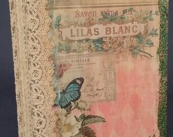 Lilas Blanc Junk Journal, Wedding Journal, Wedding Guest Book, Hard Cover Journal, Vintage Journal