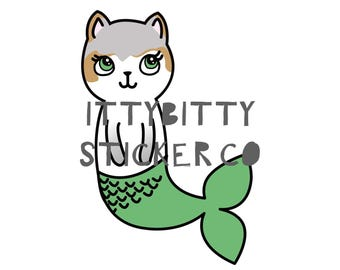 Mauly, The Little MerCat - Hand Drawn IttyBitty Kitty Collection - Planner Stickers