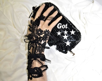 Goth lace, Gothic gloves, Goth gloves, Black lace gloves, fingerless gloves, black fingerless, Embroidery lace, steampunk gloves, lace glove