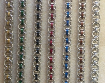 Helm chainmaille bracelets in a range of colours