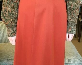 50% OFF! Moving Sale! 70's Mister Leonard By Canadian Designer Len Wasser, Vintage Dark Brick Red Floor length Flare Boho Mod Skirt