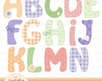 Clipart alphabet, clipart letters, clipart birth, clipart invitation, baby letter, alphabet personalized