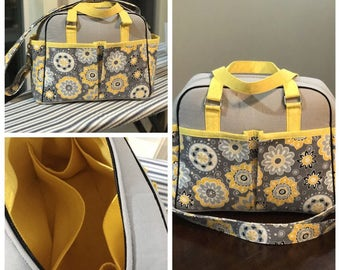 Sale! Yellow floral handmade Belle diaper bag