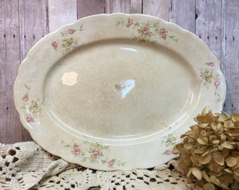 Antique Canonsburg Pottery Platter/Pink Roses/Rustic