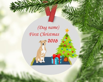 Pitbull's First christmas Ornament  - Dogs First Christmas - Pitbull - Gift For pitbull lovers
