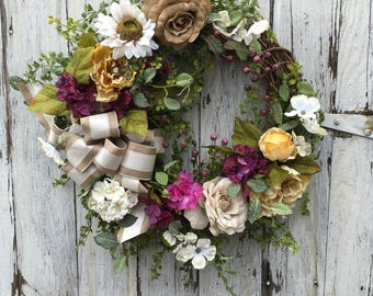 Spring and Everyday Floral Wreath, Burlap Rose Wreath, Cream and Tan Country Wreath, Farmhouses Wreath, Shabby Chic Wreath, Vintage Door