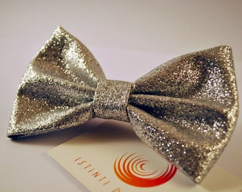 Handmade bow tie black iridescent