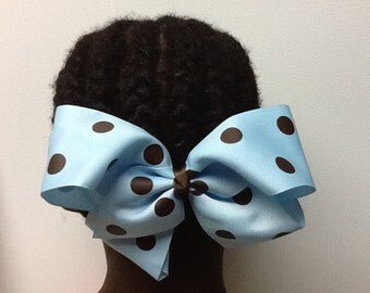 Turquoise and Brown Hair Bow, Large Hair Bow, Turquoise Jumbo Dot Ribbon,  Hair Bow