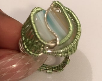 Statement Green Agate Ring