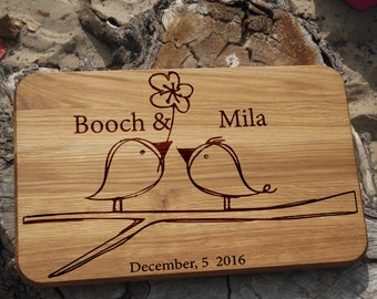 Personalized gift for her Wedding cutting board Engagement gift for couple Engraved gift for women Wood gift for sister Love birds on branch