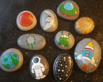 Space themed story stones