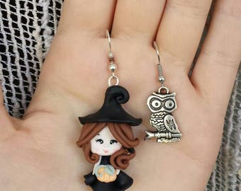 Halloween Witch and OWL earrings polymer clay fimo errings
