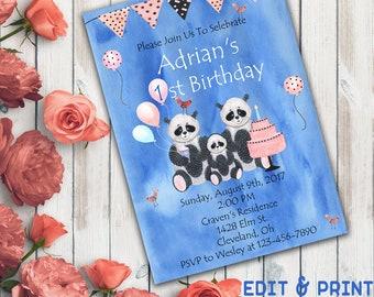 Boy First Birthday Invitation, Birthday Invitation For Boy, 1st Birthday Boy invitation, Bear Birthday Invitation, DIY, Instant Download