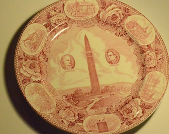 wedgewood bennington battle monument red transfer plate john stark ethan allen vintage bennington ethan allen desk
