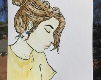 Watercolor Woman Portrait