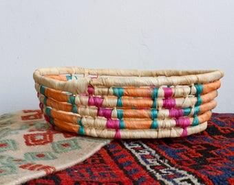 Vintage Colorful Tribal Woven Moroccan Basket, South American Basket, Handmade Basket, Decorative Wall Basket