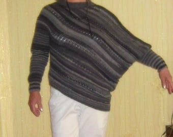 Hand Knitted sweater for women.  Wool pullover.  Hand  Knit jumper. Asymmetrical jumper.