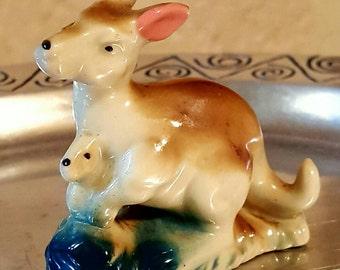 Vintage 1950's porcelain kangaroo and joey figurine