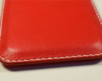 Samsung Galaxy S8/S8+ Kangaroo Leather Cover in Red Color, Personalized, Slim, mobile leather Cover