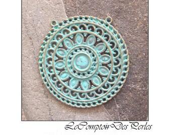Patina Green Brass Medallion Filigree Focal 53mm