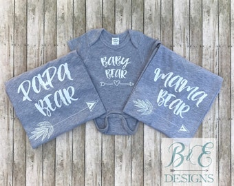 Pregnancy Announcement Shirt,  Family Shirt Set, Mama Bear, Papa Bear, Baby Bear, Brother Bear, Sister Bear, Baby Shower Shirt