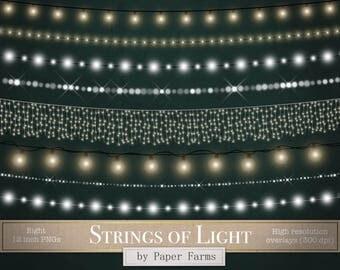 Strings of light clipart, light borders, light clipart, light effects, glitter, bulbs, glowing, light strings, fairy lights, DOWNLOAD