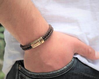 Men's Bracelet Mens Braided Cotton Bracelet Mens Magnetic Clasp Bracelet Mens Braided Cotton Bracelet Brass Magnetic Clasp Vegan Bracelet