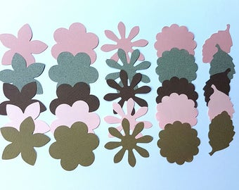 Strawberry Sundae Flora Paper Flower Punch Pack for fpaper craft, scrapbooking, collage, kids craft, visual art