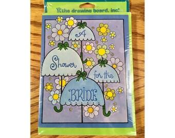 Vintage New Old Bridal Shower Invitations pack of 10 cards envelopes, Wedding Shower Invitations, Bridal Invites, Flower Umbrella & Theme,
