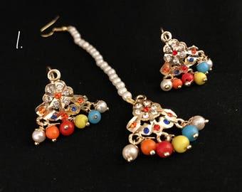 Small Jadau Earrings & Jadau Teeka Sets | Jadau Studs with Jadau Tikka
