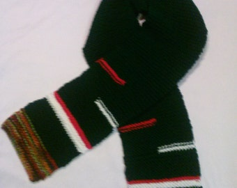 Winter Scarf In Hunter Green,Autumn,Red White Mix.Mens,Womans,Teens