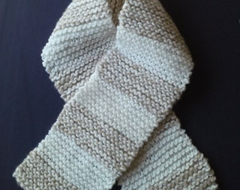 Winter Scarf In White & Sand Brushed Wool Mix.Womans,Teens