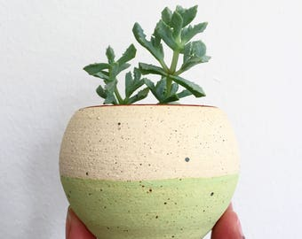 "Green speckled unglazed 3"" planter"